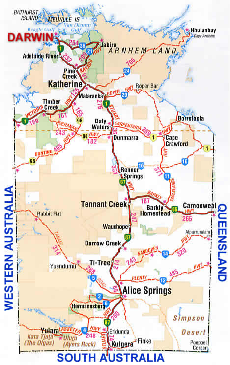 Northern Territory Road Map NT