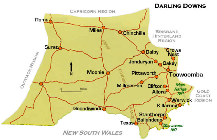 road maps darling downs