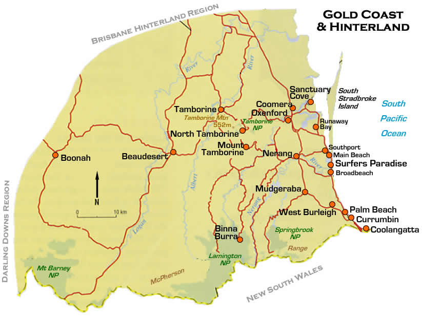 Gold Coast Road and Region Maps