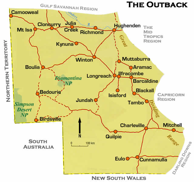 road maps outback western queensland