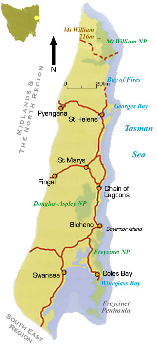 East Tasmania Region & Road Maps