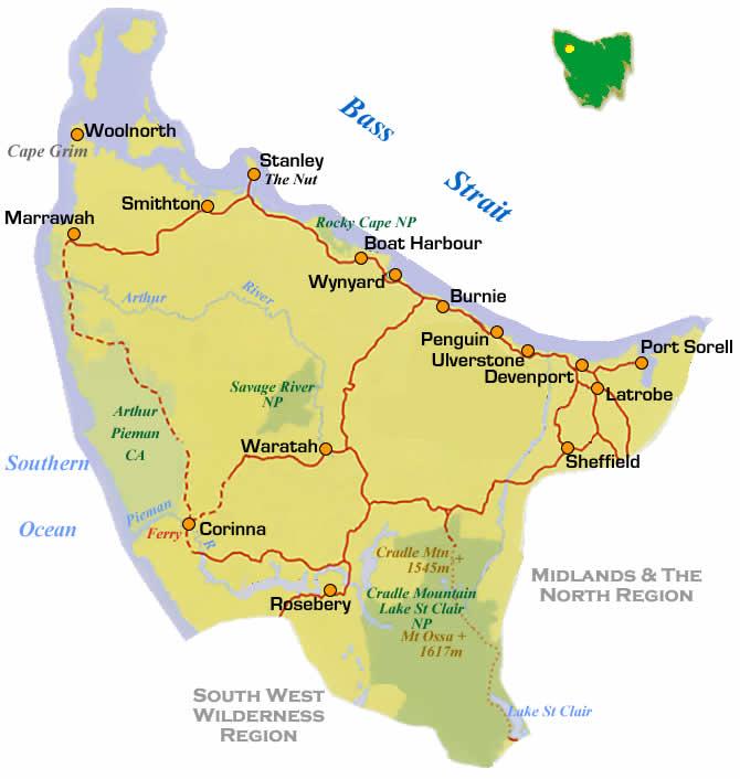 north west tasmania road region map