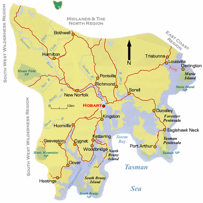 south east tasmania road maps