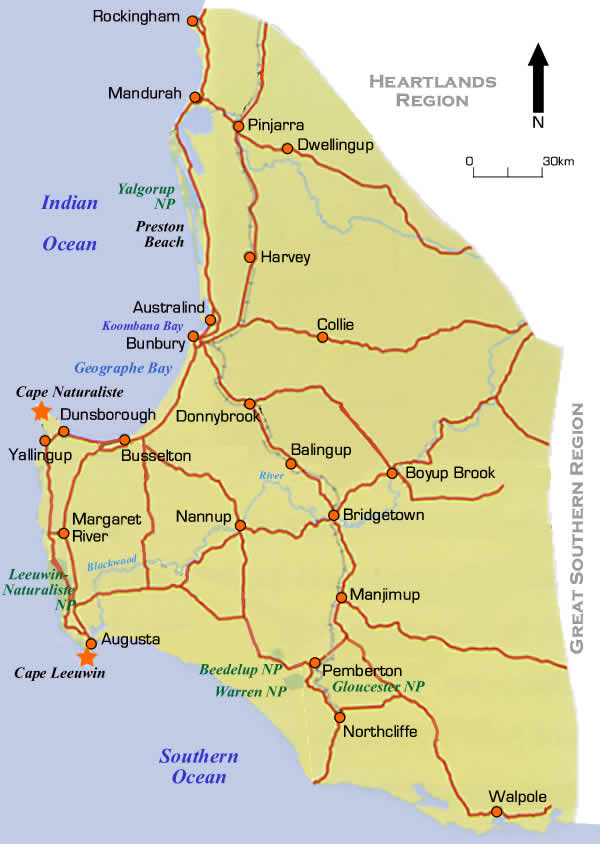 South West Coast Region Road Maps Western Australia - Map of western australian towns
