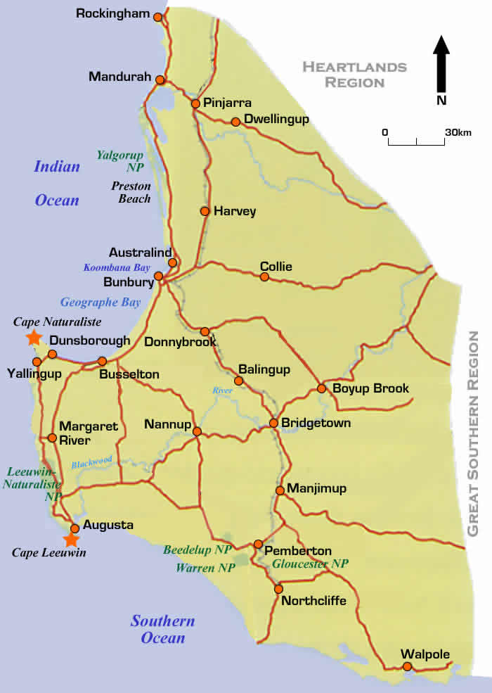 Road Map Of Famous Wine Region Of Margaret River Western - Map of western australia with towns