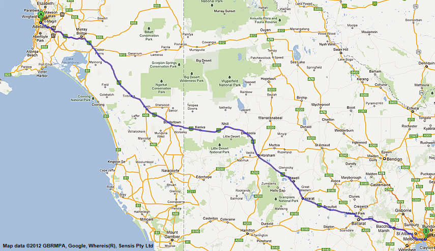 Road Maps Melbourne to Adelaide Road Map 1