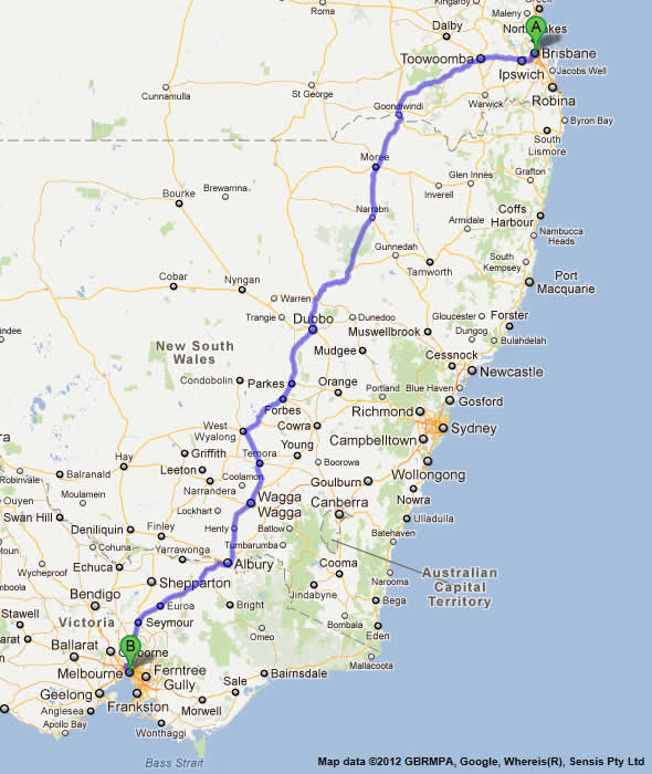Road Maps Brisbane to Melbourne Road Map