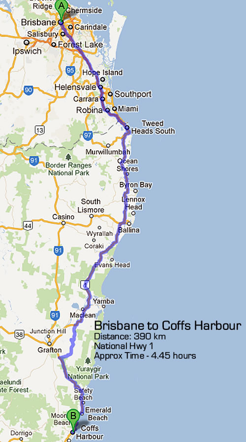 Road Maps Sydney to Brisbane Road Map 1 1
