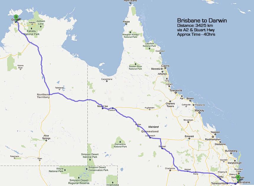 Road Maps Darwin to Brisbane Road Map