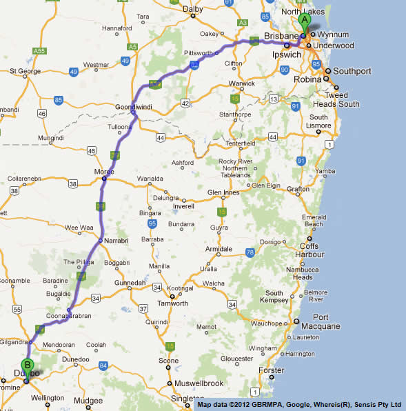 Dubbo Australia  city photos gallery : ... Road Map 2 | Brisbane to Melbourne Road Map | Australian Road Maps