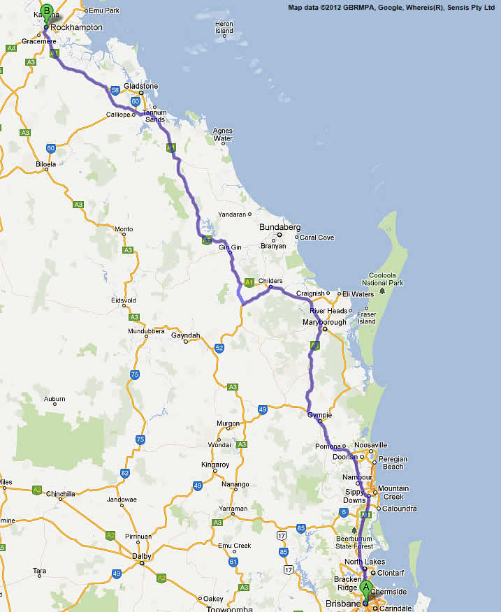 Brisbane to Cairns Road Maps Road Map 1