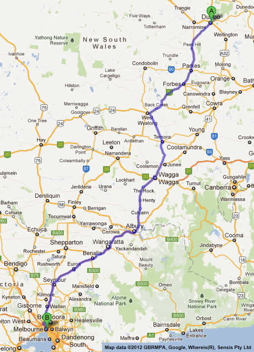 Road Maps Brisbane to Melbourne Road Map 2