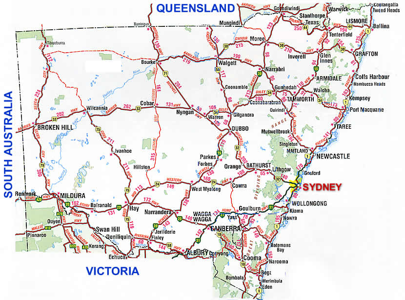 New South Wales Road Map NSW