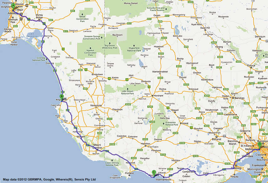 Melbourne To Adelaide Road Map Route 2