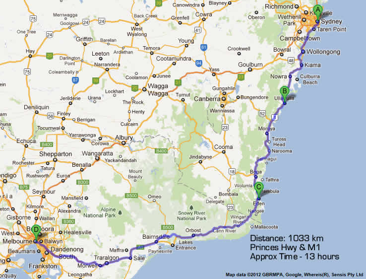 Road Maps Melbourne to Sydney Nsw Eden to Melbourne Road Map 2 – Sydney Tourist Map