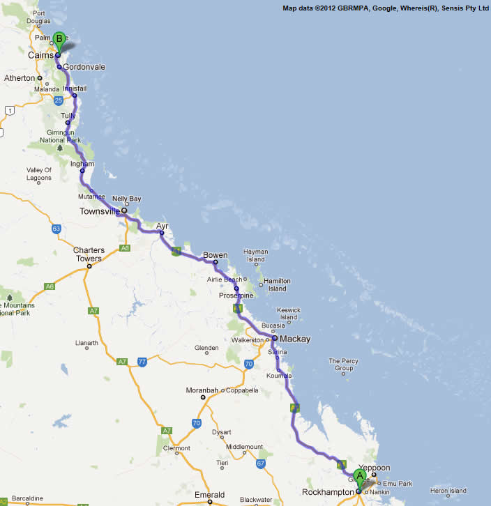 Brisbane to Cairns Road Maps Road Map 2