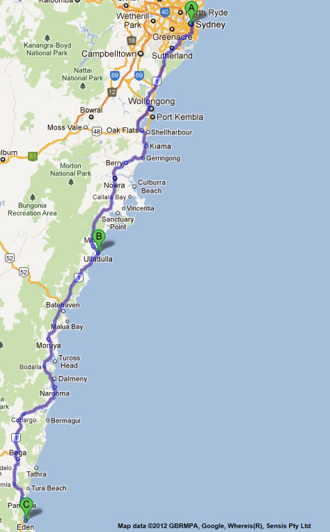 Road maps melbourne to sydney nsw eden to melbourne road map 1 2 sydney to melbourne road map 1 gumiabroncs Gallery