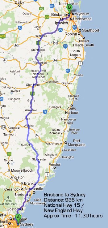 Road Maps Brisbane to Sydney Road Map 2