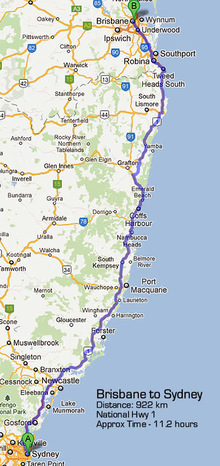 Road Maps Sydney to Brisbane Road Map