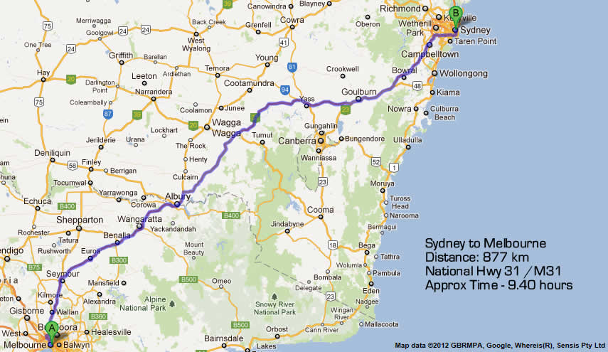 Road Maps Sydney to Melbourne Road Map 1 – Melbourne Map For Tourist
