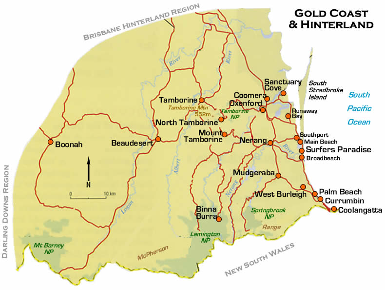brisbane gold coast map. GOLD COAST MAP