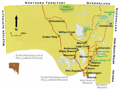 Map of Flinders Ranges in South Australia