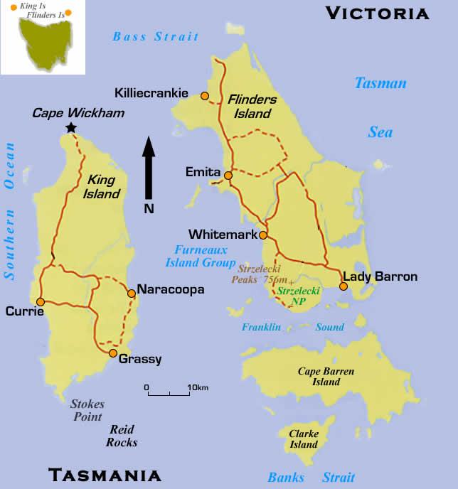 King Island Australia  city photos gallery : Map of Bass Strait Islands King Island & Flinders Island. Australia