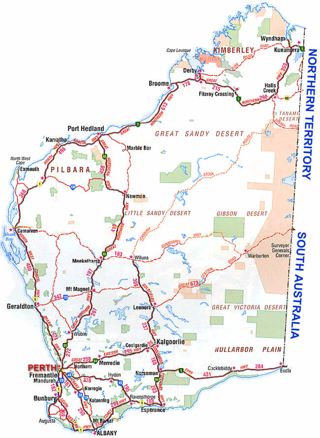 Detailed Map Of South West Western Australia London Map - Map of western australia with towns