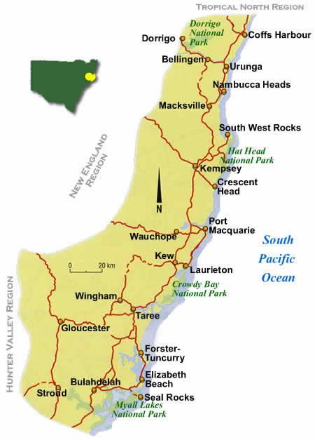 Mid North Coast Map Beautiful Nsw Coast Map Photos   Printable Map   New  Mid North Coast Map