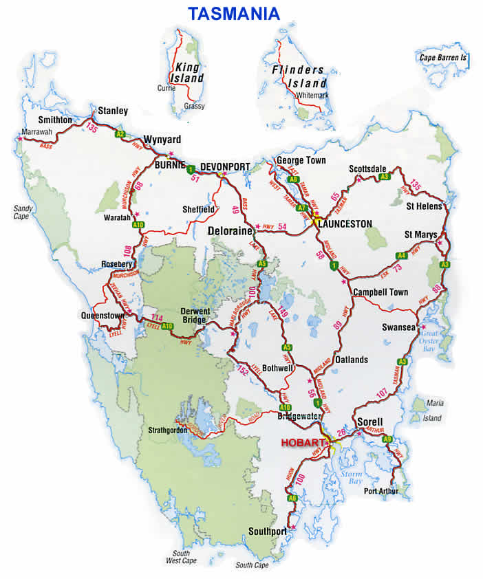Map Of Australia And Tasmania.Road Map Highways Tasmania