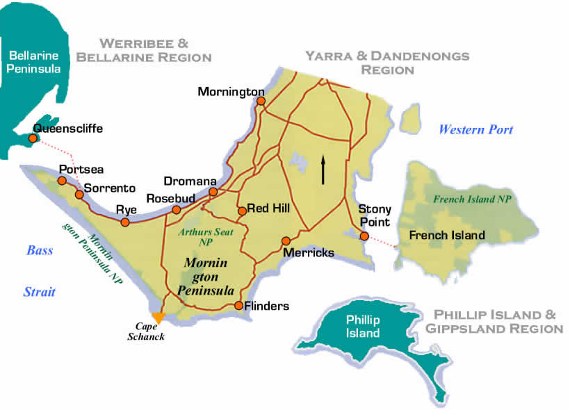 Map Of Mornington Peninsula Road Maps and Region Map of Mornington Peninsula Region of