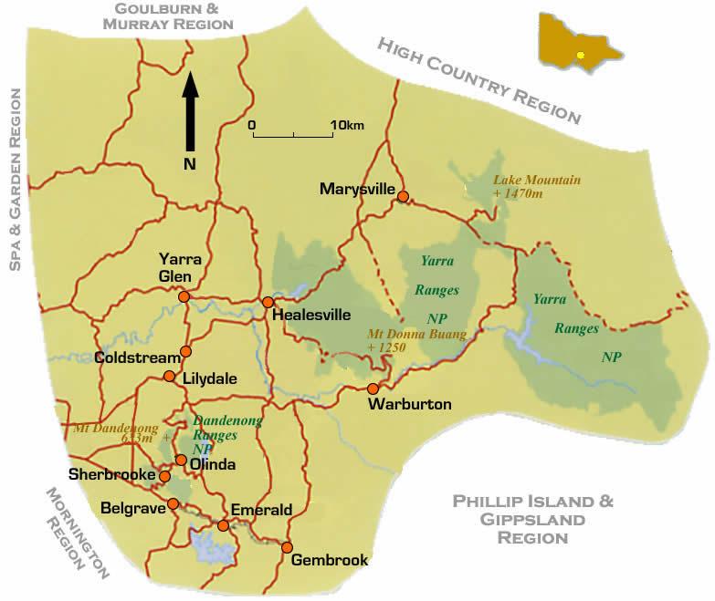 Road Map Victoria Australia.Road Maps Of Yarra Dandenongs Vic