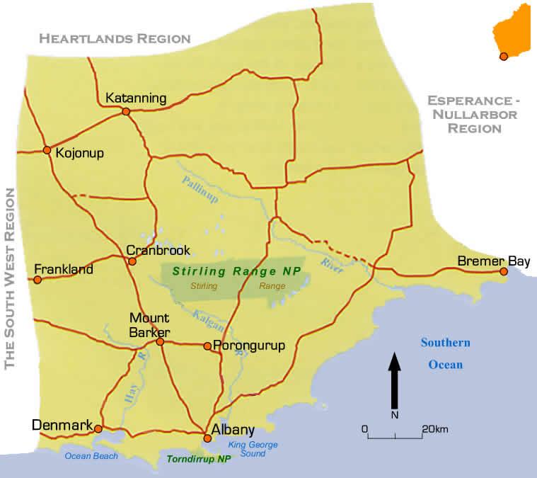 East Coast Map Of Australia.Region Road Maps South East Coast Western Australia