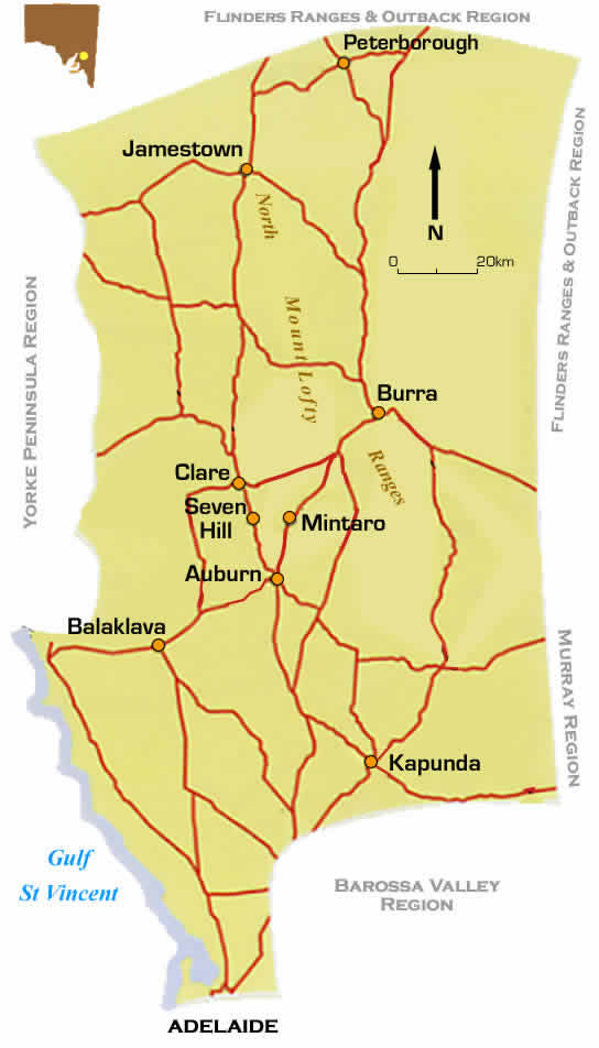 Map Of Famous Wine Region Of Clare Valley South