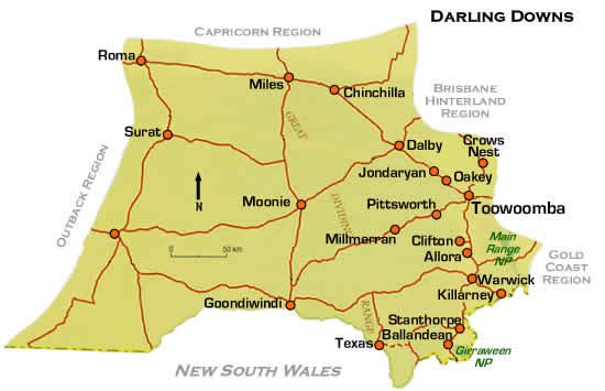 Map Of Texas Qld.Map Of Wine Region Of Granite Belt Queensland Australia