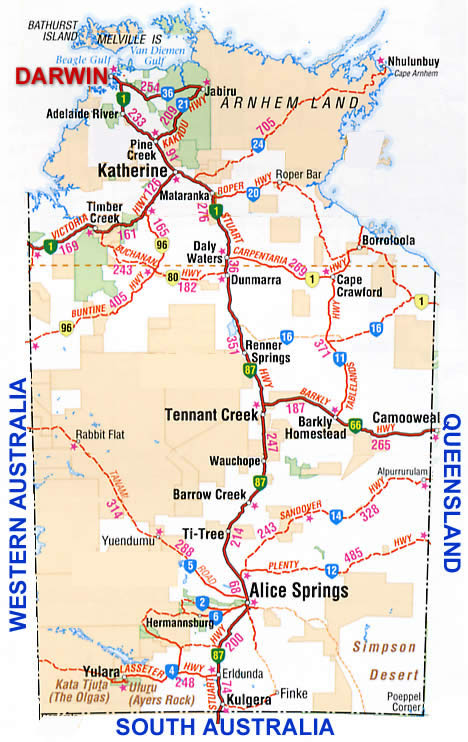 Map Northern Australia.Road Map Driving Directions For The Northern Territory Nt Australia