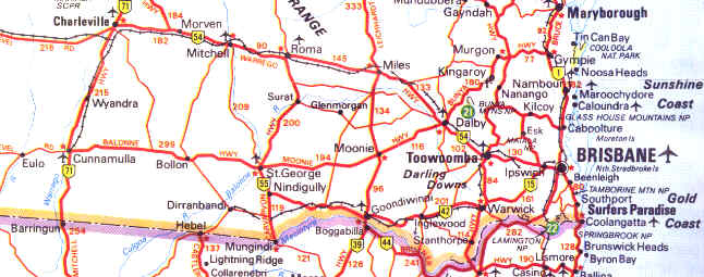 Qld Road Map Road & Highways Map South East Queensland Qld Road Map